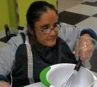 Woman mixing pancake batter