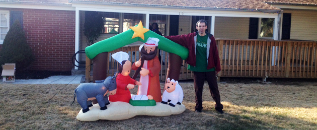 Jimmy, who suffers from pica, and his Christmas inflatable decoration