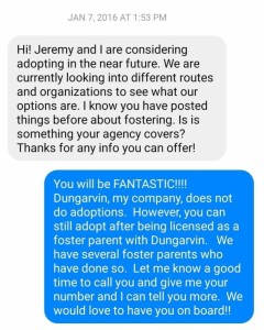 Image: Message to Dungarvin about Foster Care